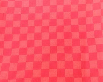 SALE Red checkered fabric.  1 yard.  Sewing. Crafting. Quilting.