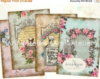 SALE 30%OFF - Vintage Flowers Parfume Tags - ATC Cards - Set of 8 - Collage Sheet Download