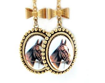 Horse Earrings, Cameo Earrings, Victorian Horse Jewelry, Dangle Earrings, Southwest Jewelry, Equestrian - Clementine