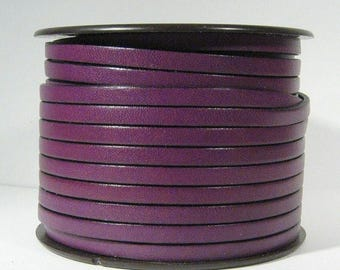Summer Sale - 25% off 5mm Flat Leather - Deep Purple - 5F20 - Choose Your length
