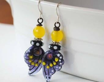 Butterfly Earrings, Purple Wing Earrings, Insect Jewelry, Lampwork Earrings, Nature Inspired Jewelry, Unique Artisan Earrings,