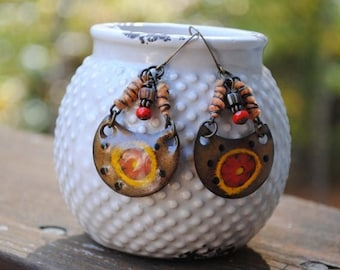SALE Artisan Enamel Earrings, Brown Earrings, Boho Gypsy Earrings, Hippie Gypsy Earrings, Unique Earrings, Red Earrings