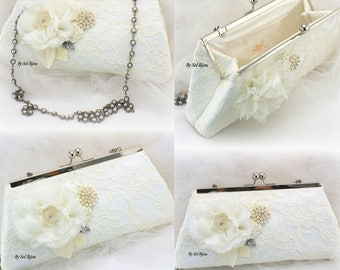 Ivory Purse, Ivory, Lace Purse, Wedding Purse, Purse, Handbag, Vintage Wedding, Mother of the Bride, Maid of Honor, Pearls, Crystals