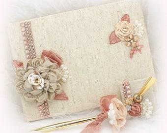 Wedding Guest Book Rose Gold Champagne, Elegant Bridal Signature Book and Gold Pen Set