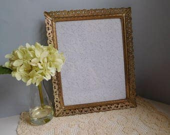 Vintage gold metal picture frame 1950s 1960s picture frame