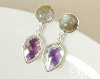 Silver Blue Labradorite & Mystic Quartz Earrings - Post Setting