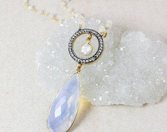 ON SALE White Opalite Teardrop Necklace – Pave White Topaz – Rainbow Moonstone Beaded Chain