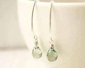 ON SALE Teal Quartz Earrings - Sterling Silver filled - Sage Green