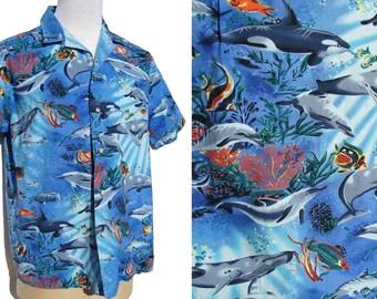 Vintage Aloha Shirt Hawaiian RJC Marine Life Whales & Dolphins Cotton Mens L XL