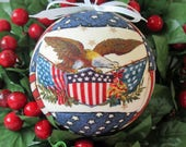 Ornament / Patriotic Kimekomi Christmas Ornament Handmade Tree Decoration by CraftCrazy4U on Etsy