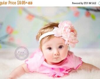 Light Pink Flower Headband, Jumbo Pale Pink and Ivory Peony w/ Rhinestone Center Headband or Hair Clip, Baby Toddler Child Girls Headband