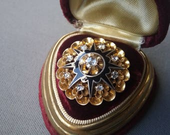 Antique Victorian 14K Yellow Gold Rose Cut Diamonds Brooch Pendant Free Shipping To The Usa And Canada