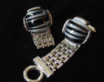 Dante Chain Wrapped Cufflinks, Striped Art Glass Stones