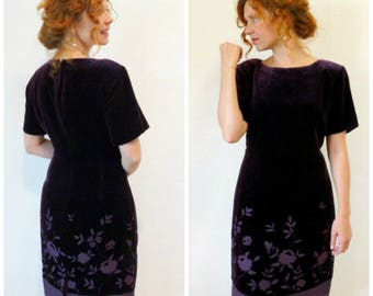Vintage 80s Velvet Dress, Eggplant cutout Evening Wiggle Party Dress S/M