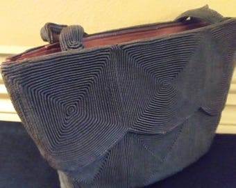 Vintage 1940s Corde Handbag Dark Brown