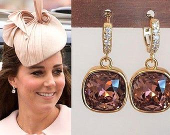 Kate Middleton Swarovski Dark Rose Pink Gold Crystal Square Cubic Zirconia Hoop Earrings