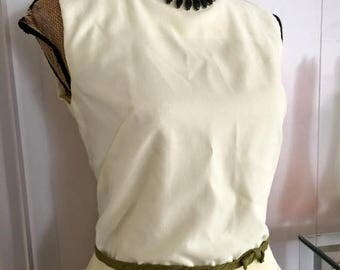 Memorial Day Sale 25% OFF Sale Adorable Little 1950's/1960's Crepe Blouse with Ruffle Trim -- Go Go Pin Up