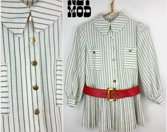 JUNIOR / CHILD SIZE - Way Cool Vintage 60s Mod White & Green Stripe Drop Waist Mini Dress with Red Belt by Dorissa