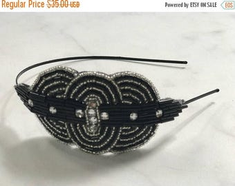 CIJ SALE Black & White Art Deco Beaded and Crystal Headband