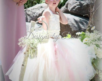 Flower girl dress. Mini Bride Dress. Vintage. Rustic. Rose Muave Dress. Ivory Dress. Shabby Chic. Size 6m-12 Girls. Custom colors available