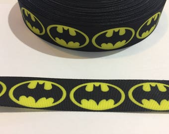 3 Yards of Ribbon 7/8 inch Wide - Batman Black and Yellow