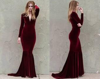 Wine Velvet Plunge Neck Mermaid Gown