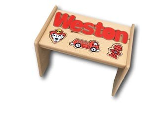 Red Firetruck Puzzle Stool (Up to 8 letters)