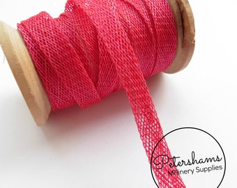 1cm Sinamay Bias Binding Tape Strip (1.6m/1.7yards) for Millinery & Hat Making - Fuschia Pink