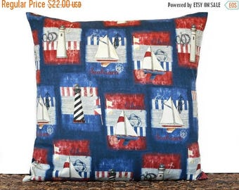 Christmas in July Sale Sailboats Pillow Cover Cushion Nautical Coastal Navy Blue Red White Lighthouse Anchor Stripe Americana Decorative 18x