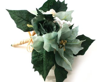 Teal and Cream Poinsettia Anemone and Rose Bouquet - Artificial Flowers, Silk Flower Bouquet, Christmas