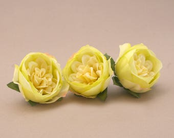 3 Small PALE YELLOW GREEN Cabbage Peonies  - Artificial Flower Heads
