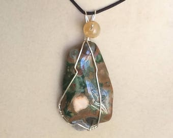 Wire Wrapped Rainforest Jasper Pendant