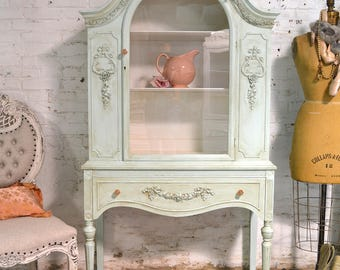 Painted Cottage Chic Shabby White Romantic French China Cabinet CC1008