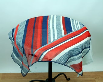 1960s scarf sheer rayon striped red white blue Made in Japan large square Triple Sheer