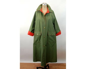 1970s Bonnie Cshin coat Weatherwear for Russ Taylor olive green orange trench coat Size L
