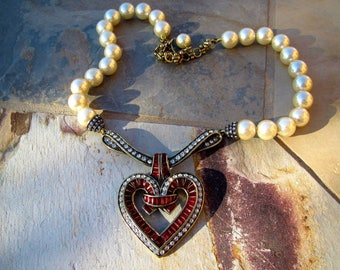 Vintage Heidi Daus Would You Be Mine Red Heart Faux Pearl Necklace