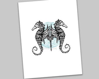 Tribal Underwater Seahorse Animal Design, Polynesian Hawaiian Tattoo Art Style, Art Print, Sale