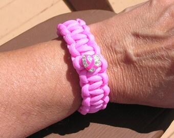 Breast Cancer Support Paracord Bracelet, Women's/Men's, Light Pink, Support Team, K