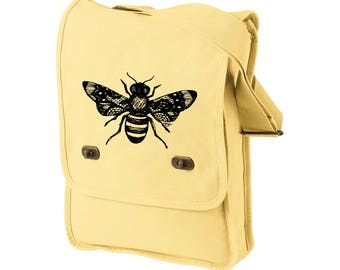 Honey Bee Messenger Bag, Canvas Field Bag, Black and Yellow, Lace Winged Insect, Tote Bag, Cross Body Tote, Bumble Bee Lover, Holiday Gifts