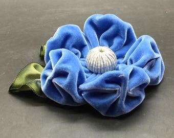 Large Sea Blue Velvet Puffy Flower Applique