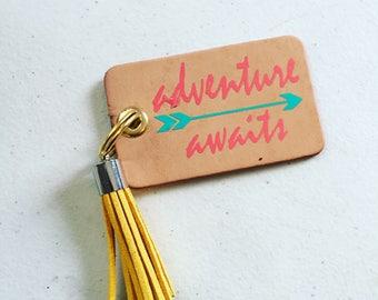 Leather adventure awaits keychain