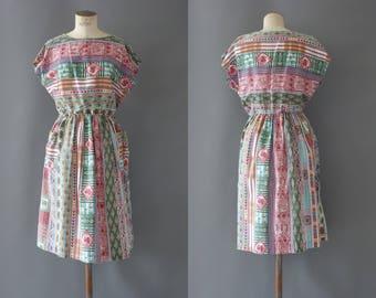 Huguette dress | Batik cotton dress | 1970 by Cubevintage | medium to large