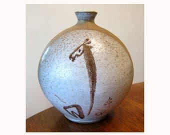 SALE vintage signed  NW studio potter vase MCM giraffe