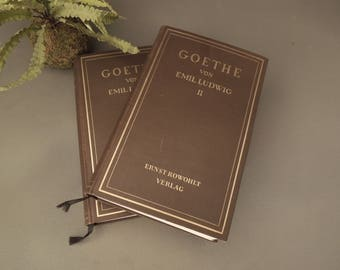 Goethe Van Emil Ludwig I & 2 - Brown Book Collection - Literary Gift - Books for Decor - Vintage Books by Color