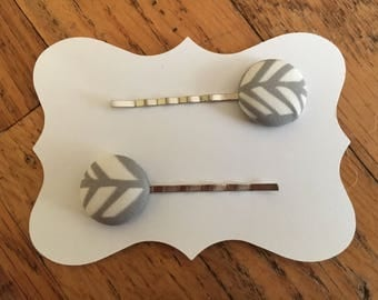 Fabric covered button hair clips . Bobby pins