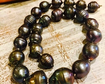 CIJ SALE Christmas JULY Beautiful Large Black Rainbow Tahitian Pearl Hand Silk Knotted Vintage Necklace