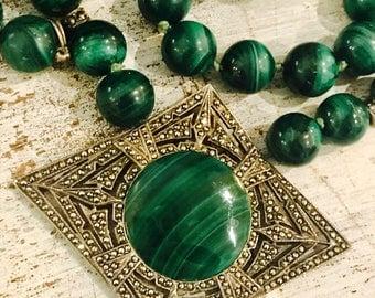 Art Deco Green Malachite Marcasite Geometric Sterling Silver Vintage Art Deco Necklace