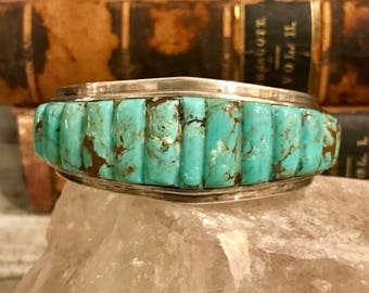 Solid Sterling Silver Turquoise Vintage Native American Cuff Bracelet Singed
