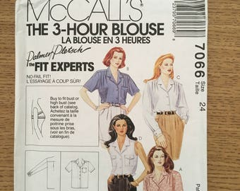 Sewing Pattern ~ McCall's 7066 ~ Vintage Palmer Pletsch Women's Plus Three Hour Blouse