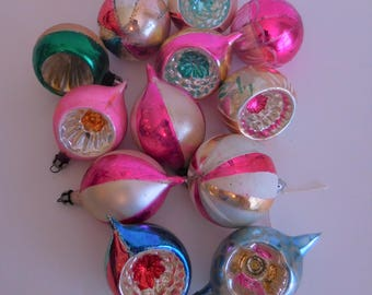 Blown Glass Fantasia Ornaments - Vintage Poland Mercury Glass Christmas Ornaments